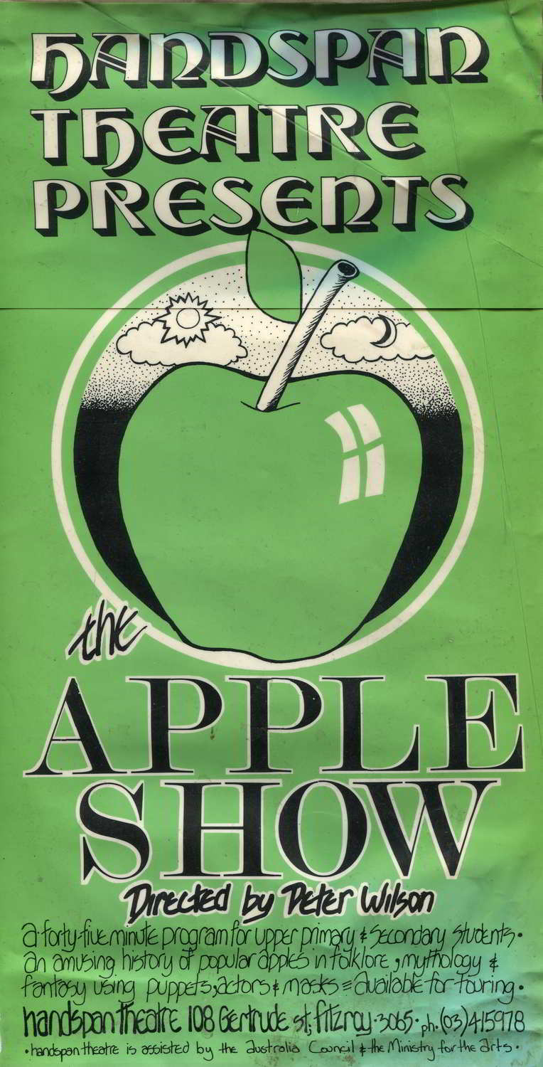 Handspan Theatre The Apple Show green advertising poster, in worn condition with picture of a large apple