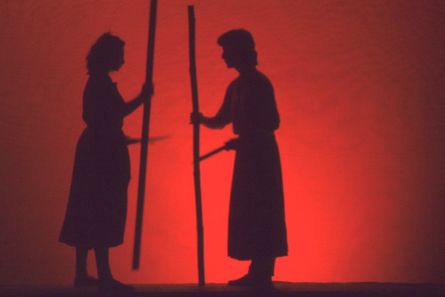 shadows of two people holding staves in red light