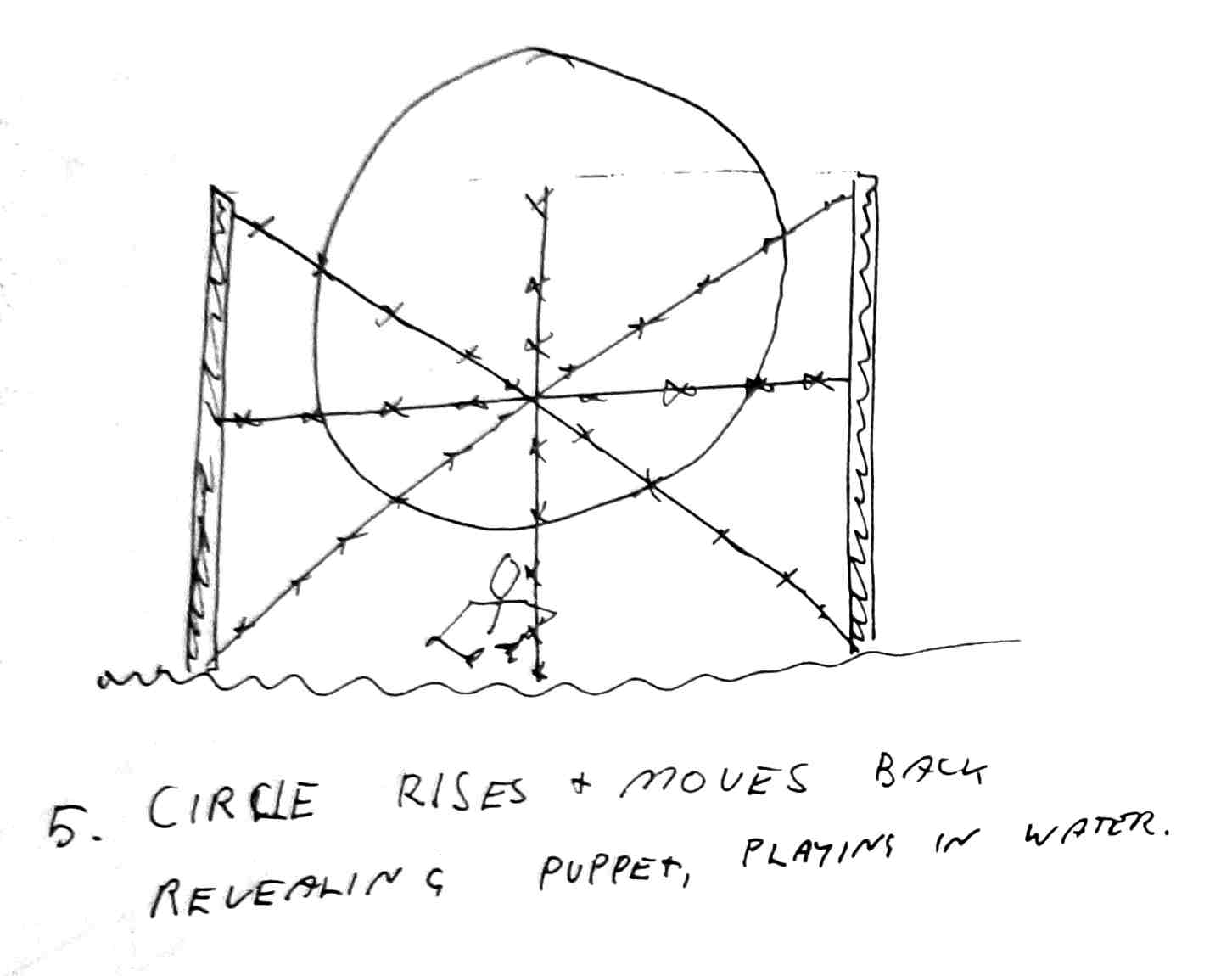 line drawing of barbed wire crossed in Union Jack shape in front of circle with stick figure appearing under the fence