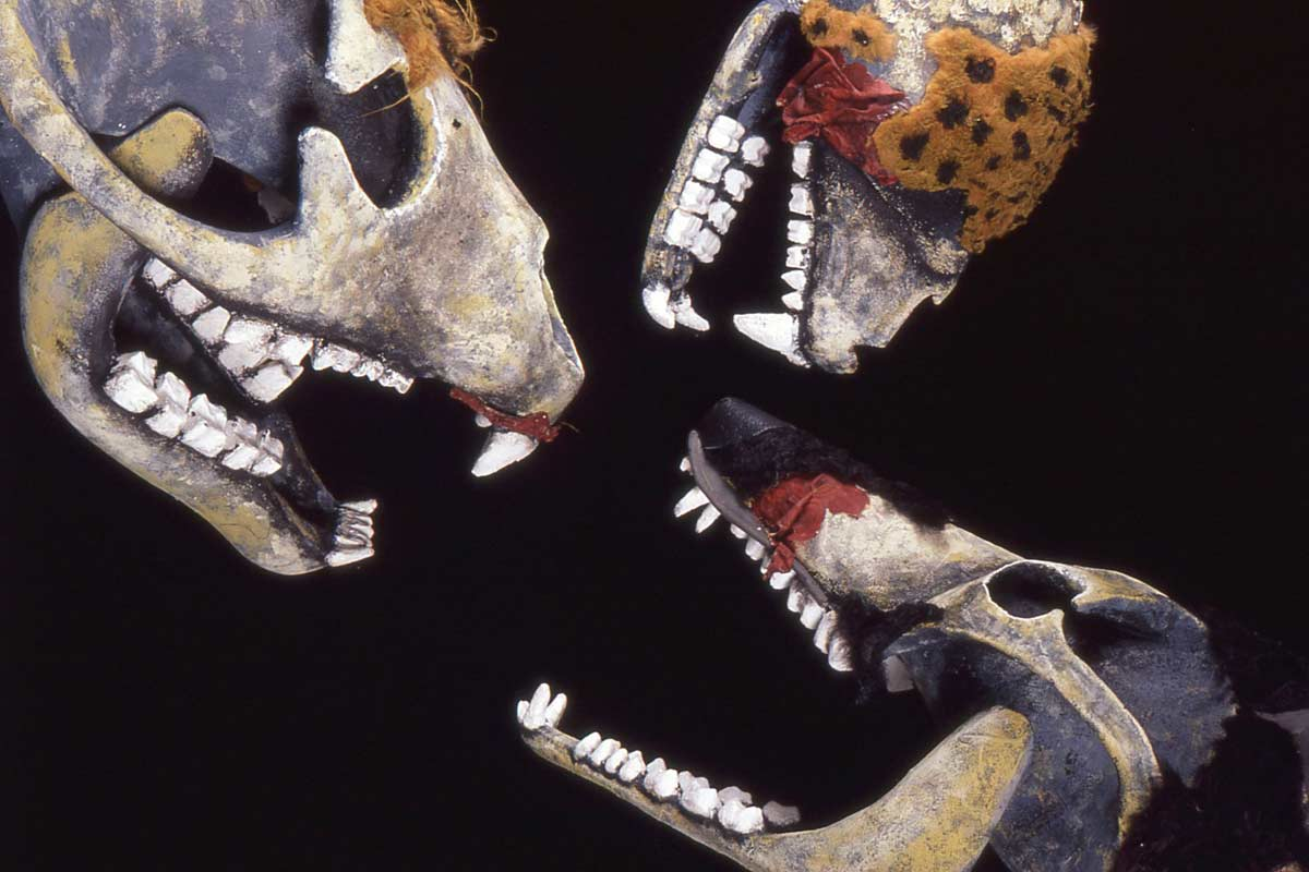 3 puppet heads of grotesque animals