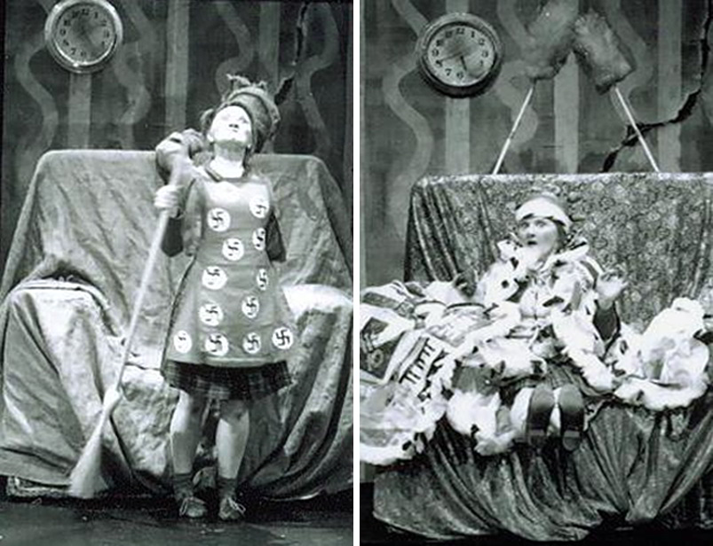 Handspan Theatre Daze of Our Lives 2 pictures side by side of woman wearing an apron covered in swastika symbols (left) and dressed as a queen in an armchair (right)