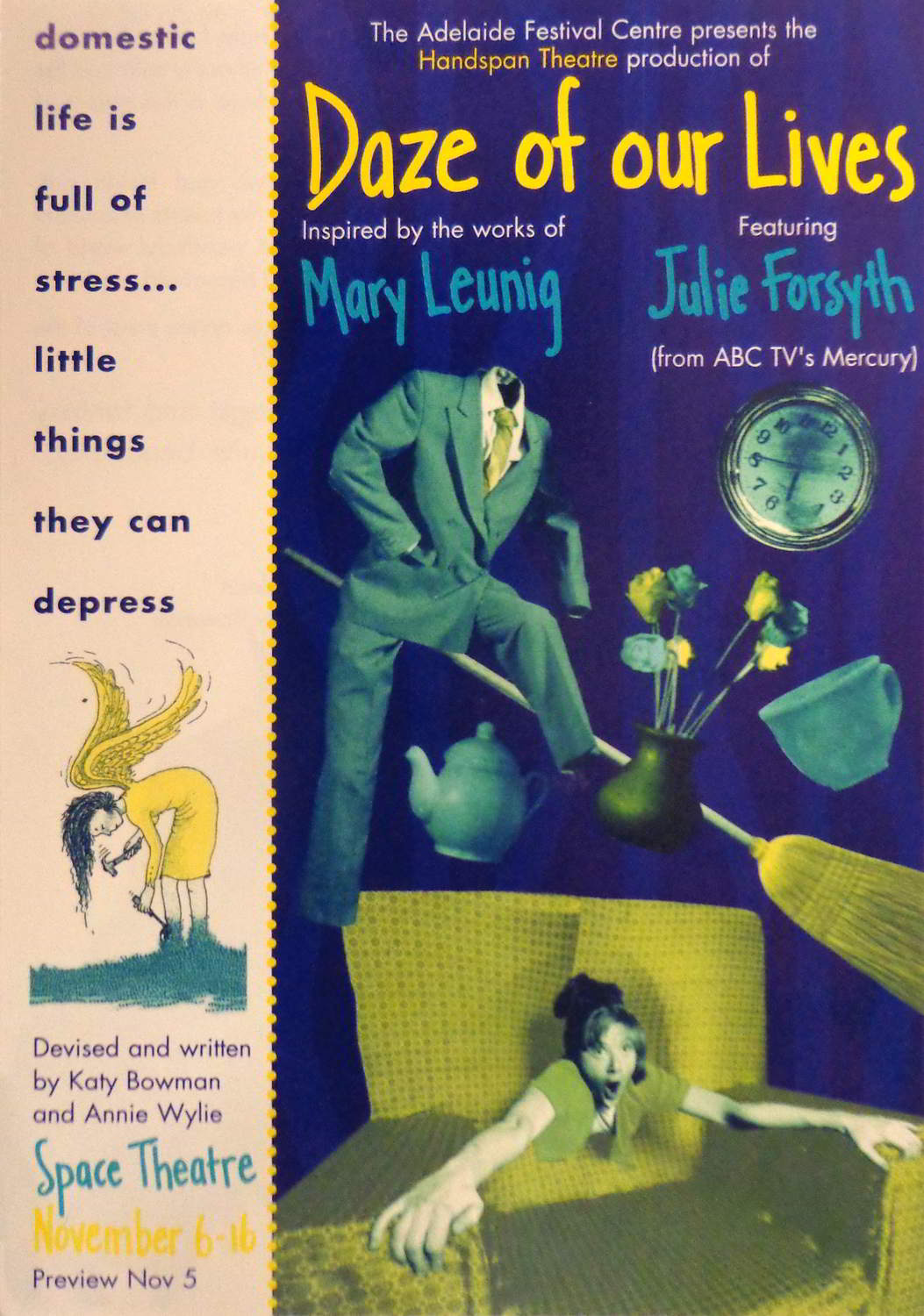 poster with blue and pink panels showing text and hand drawn cartoon images from the production in yellow and green