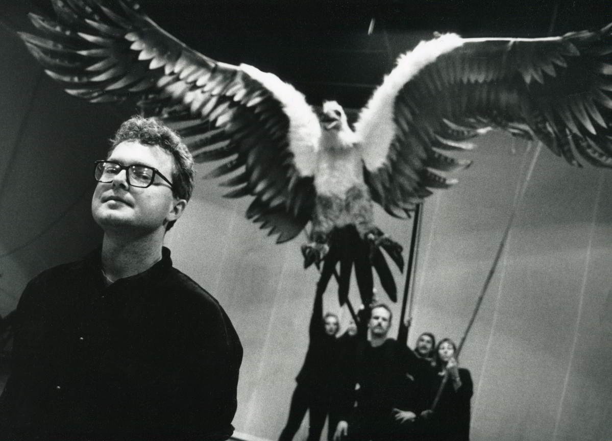 Gullivers Travels scriptwriter Andrew Bovell in front of large puppet eagle
