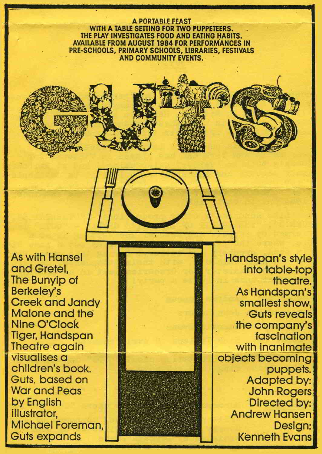 paper flyer with black writing on yellow background with line drawn table and ornamental title lettering