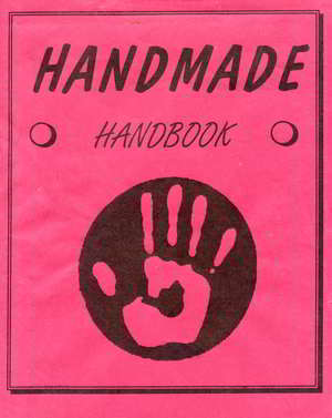 red book cover with black text saying Handmade and a black handprint logo