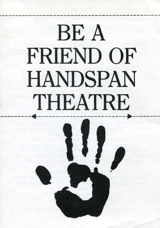 black text on white paper, Be a Friend of Handspan Theatre with handprint logo