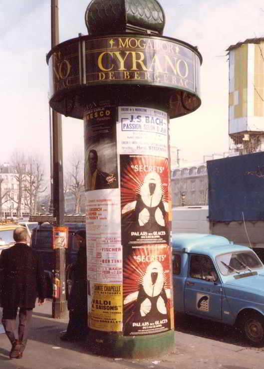 Parisian advertising pole displaying Secrets poster