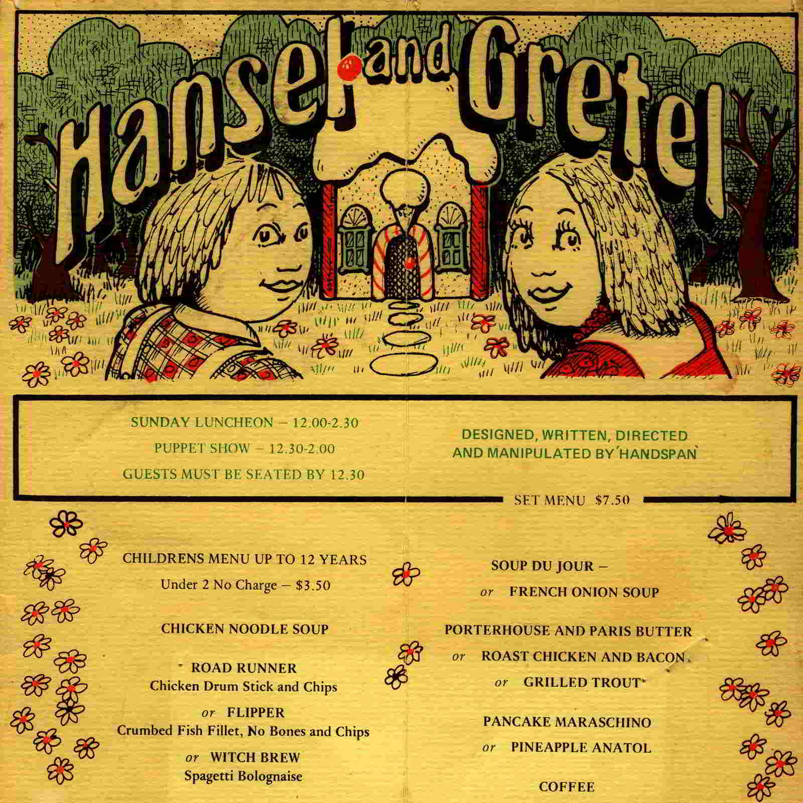 Handspan Theatre Hansel and Gretel at Anatols menu