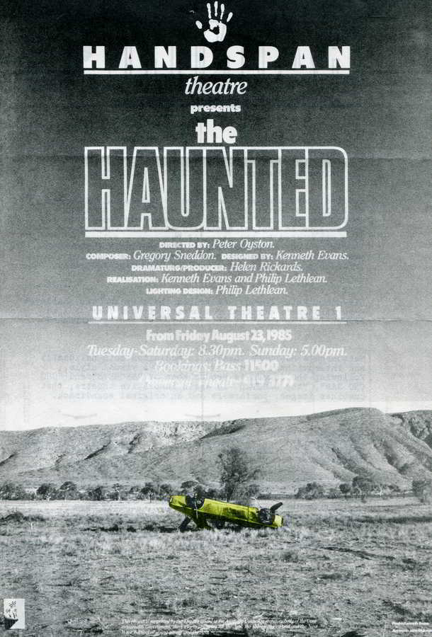 Handspan Theatre Poster for The Haunted grey background picturing desert with yellow upside down car