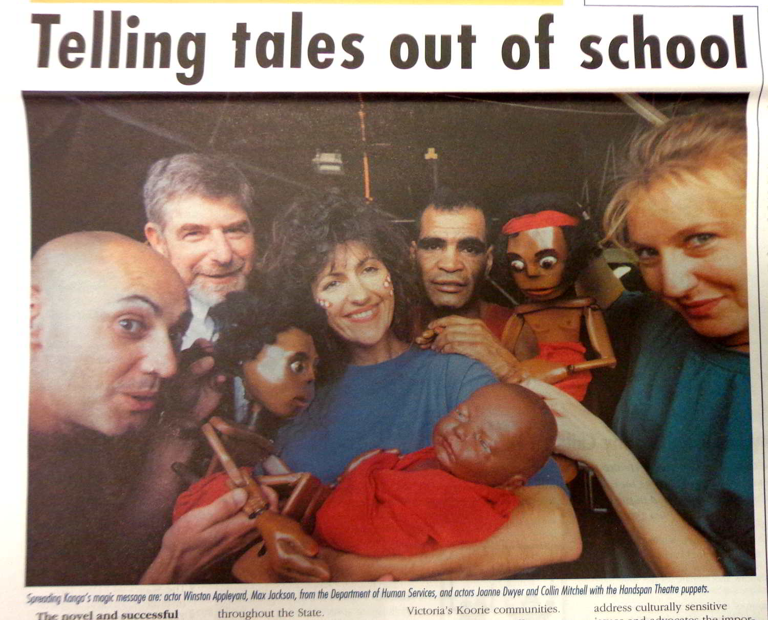 newspaper clipping photo showing mixed indigenous and anglo-australian cast and puppets