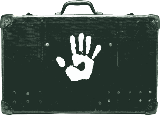 suitcase with handprint logo