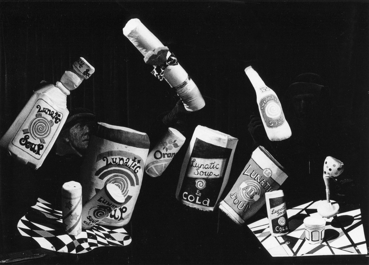 Handspan Theatre Lunatic Soup bottles and cans  of tempting drugs against a black background