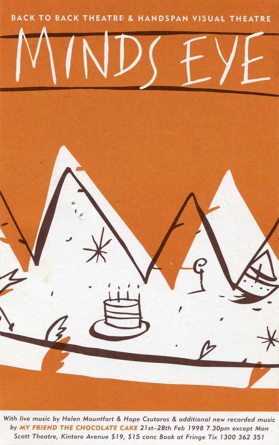 orange postcard with white mountain peaks and line drawn cake and boat