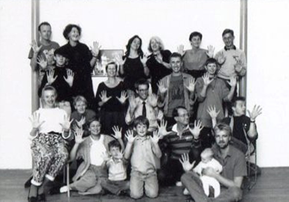 Handspan Theatre 1988 line up of company members and some of their children