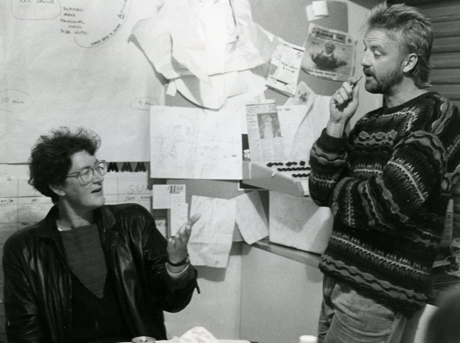 Philip lethlean and Trina Parker at Handspan Theatre in discussion at the office desk