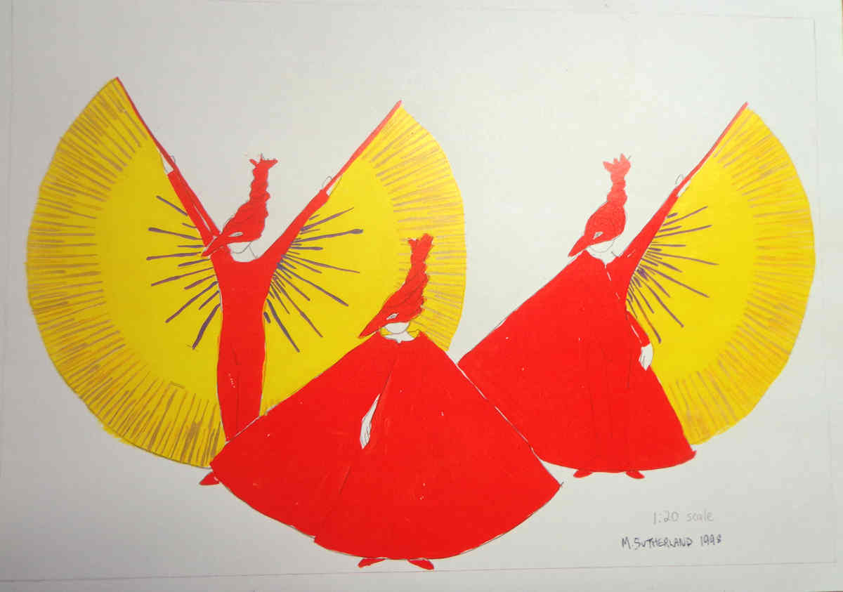The Phoenix Cycle Handspan Theatre Mary Sutherland design: 3 red figure in beaked hoods with yellow fan wings