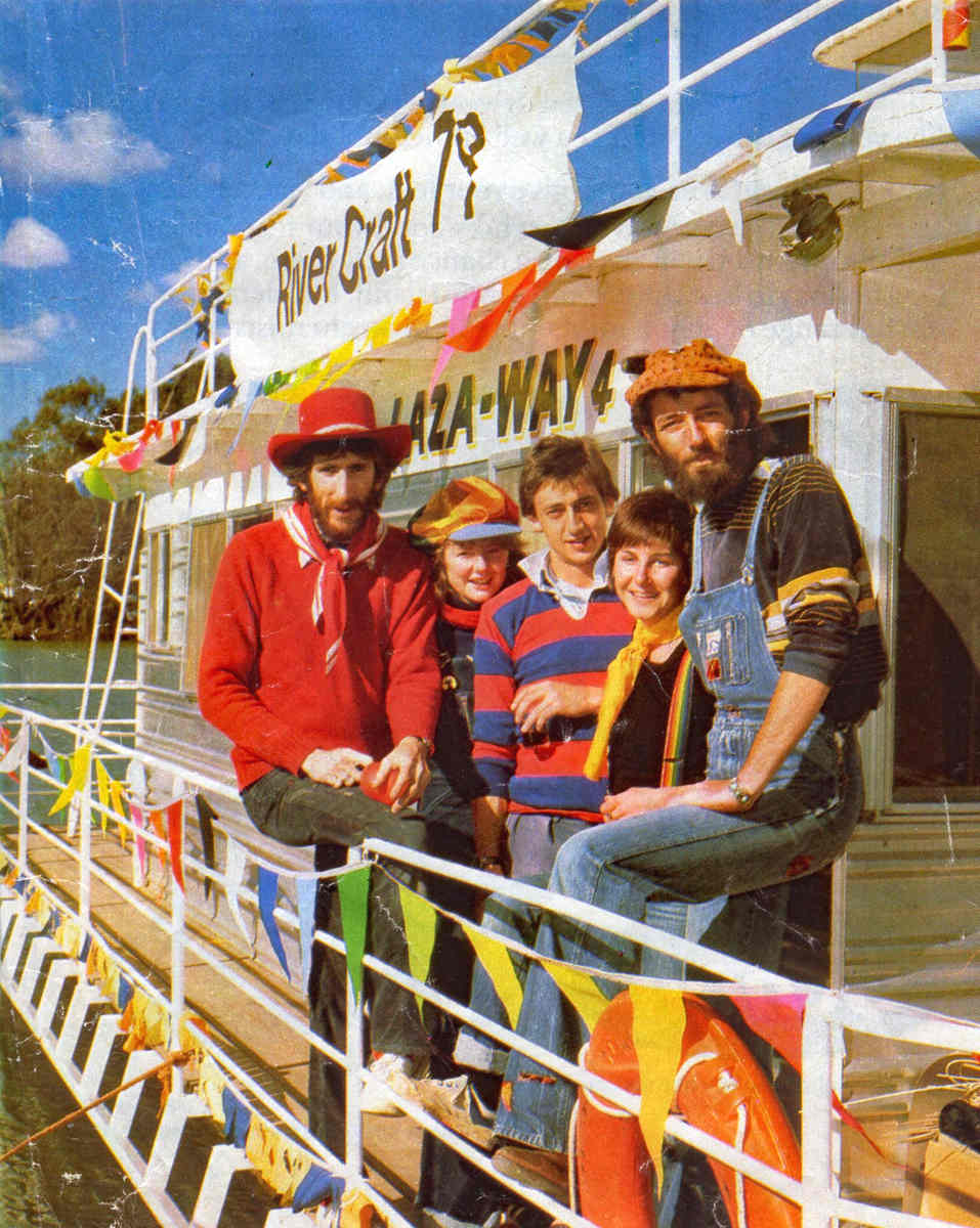 on the deck of a riverboat on the Murray River at Mildura, Greg Temple and crew