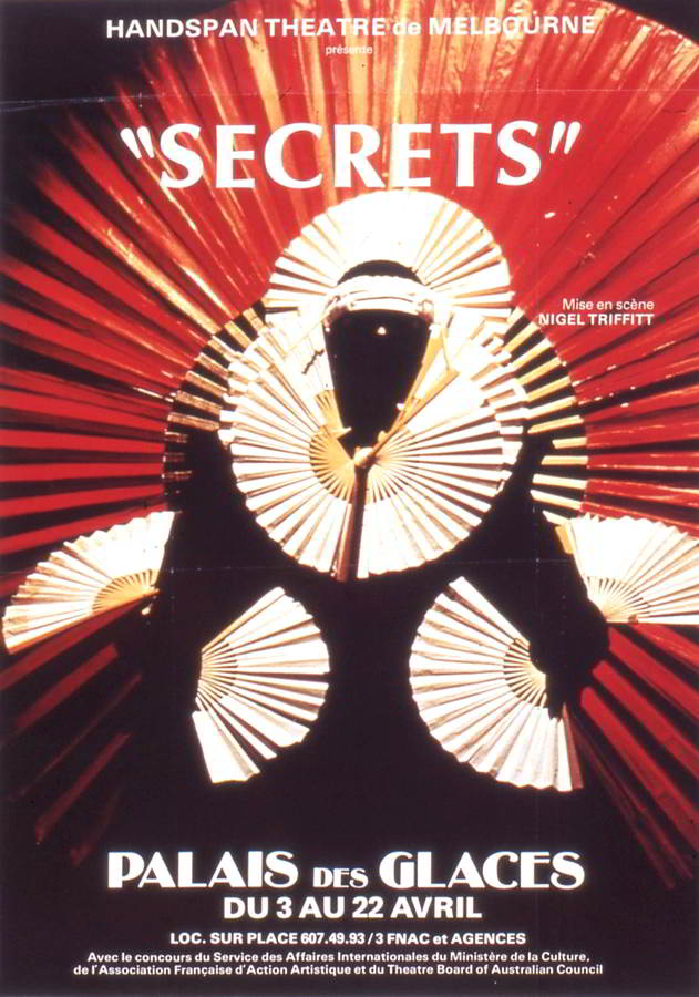 Secrets Handspan Theatre red poster for Palais des Glaces Paris 1984