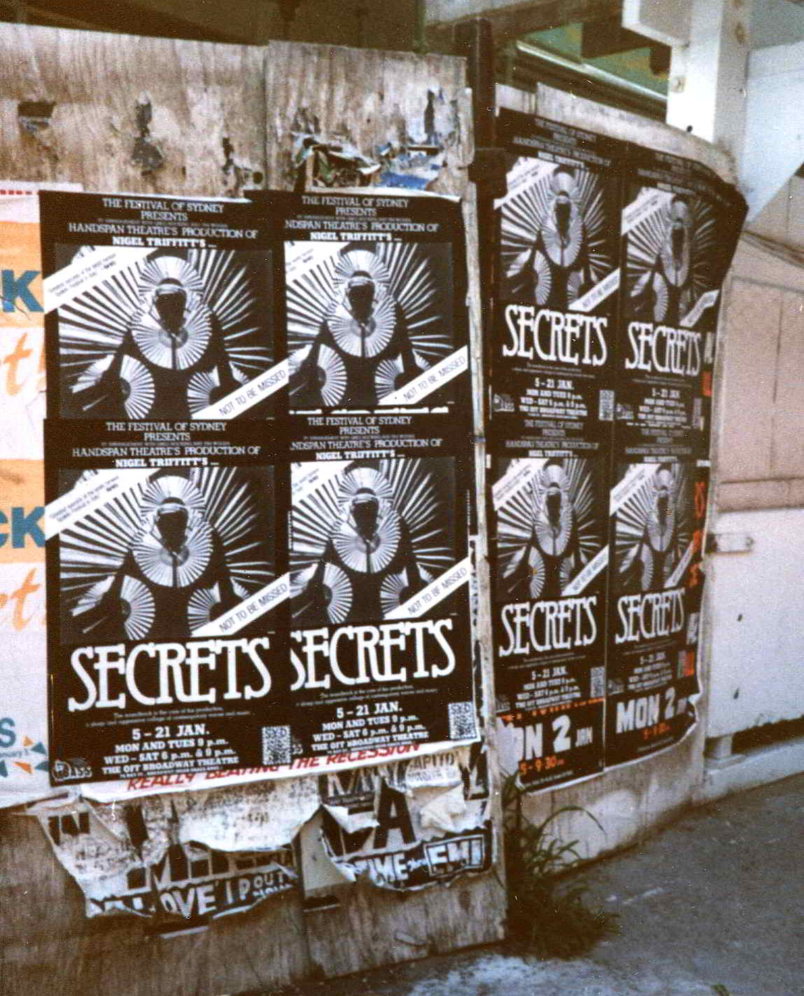 Secrets Handspan Theatre black and white street posters Sydney 1984