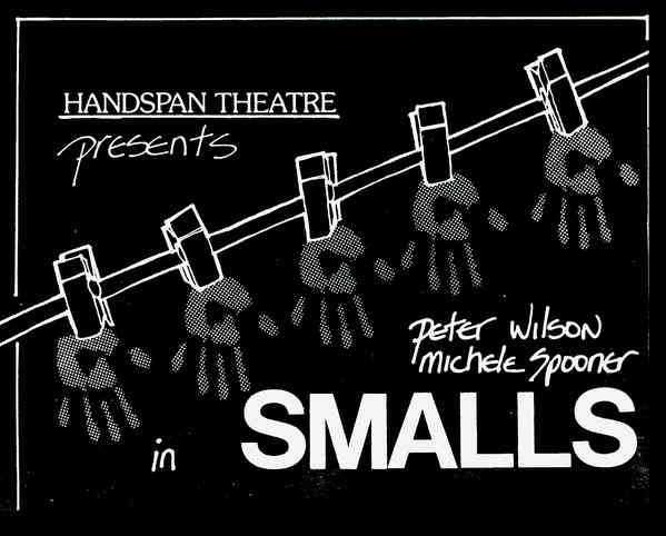 SMALLS Handspan Theatre flyer line drawing of handprints pegged to clothesline