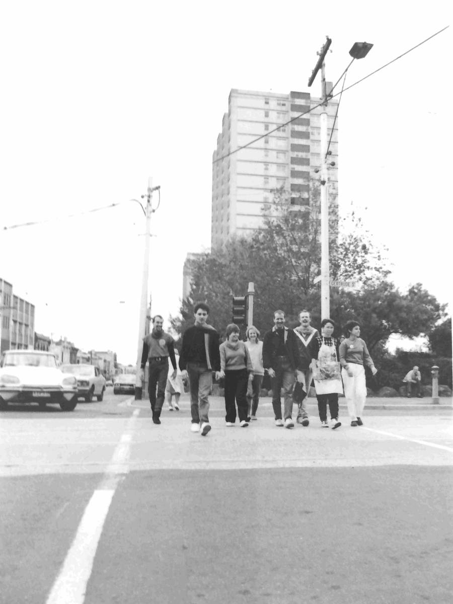 Handspan At Home peoplecrossing street intersection Fitzroy 1983