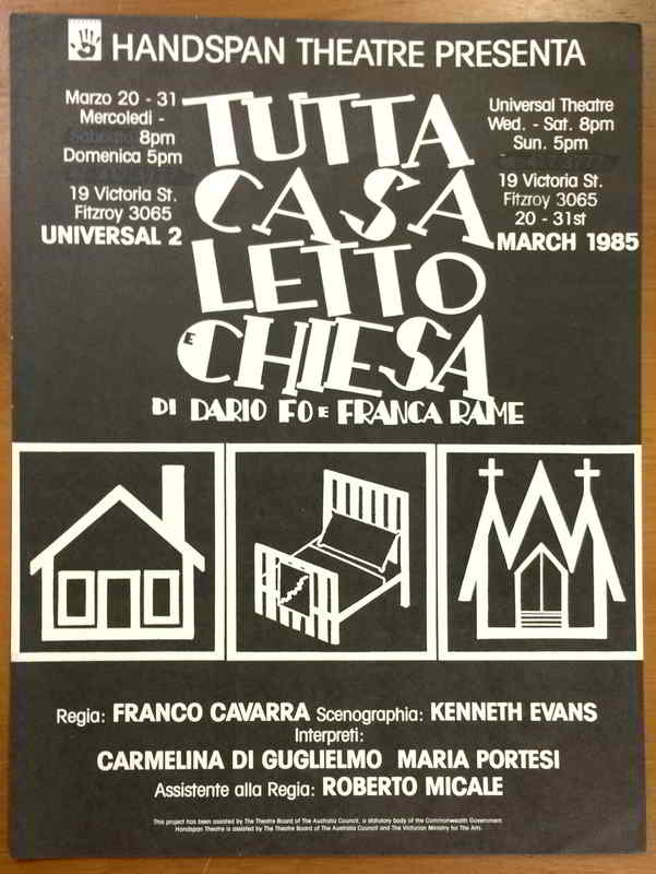 Tutta Casa Letto E Chiesa poster line drawings of a church, a house and a bed