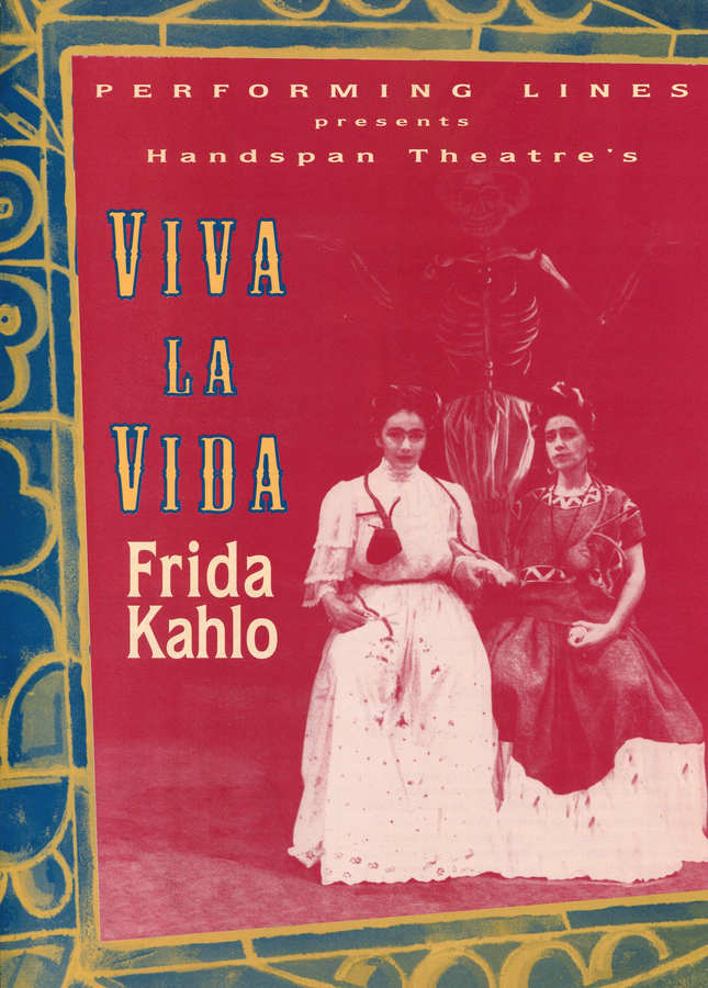 simple design showing two Fridas and text on solid dark red background