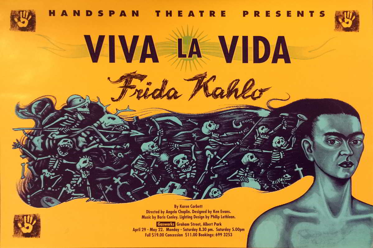 Handspan Theatre Viva la Vida Frida Kahlo poster orange with purple woman's face and hair full of skeletons streaming behind