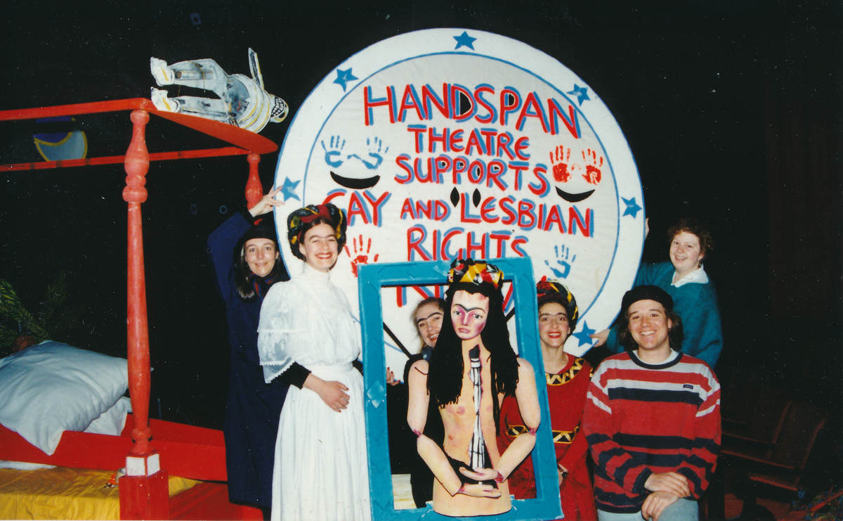 Handspan Theatre Viva La Vida - Frida Kahlo company with gay Rights banner Hobart