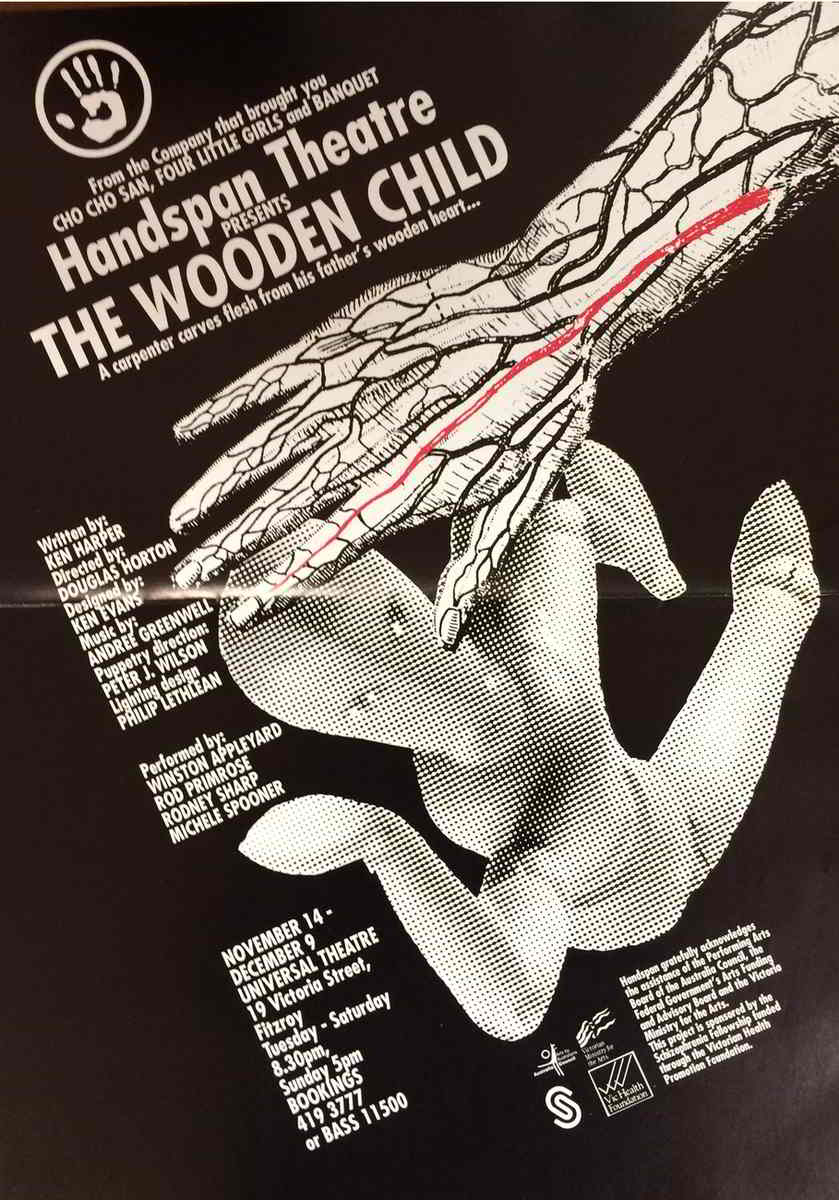 Handspan Theatre The Wooden Child black and white with red accent, photo of wooden puppet with line-drawing of human hand in protective gesture